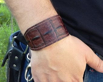 Mens leather cuff bracelet in brown with stainless steel buckle,  Cuff bracelet, Leather Mens bracelet, Mens gift idea, Handmade bracelet,