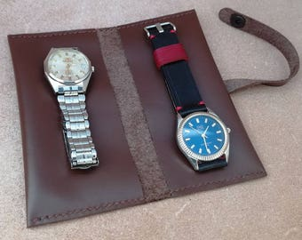Leather Watch case with 2 pockets, make up pouchTravel Case, Watch Pouch, Leather watch roll, Watch Roll Leather, Handmade roll, watches