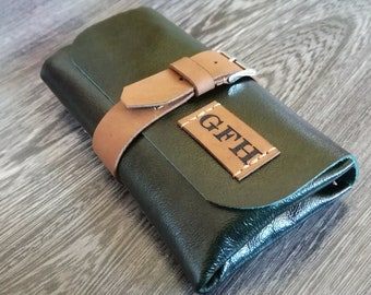 Leather Watch Roll with initials, Anniversary gift, leather Watch case, Make up pouch, Watch Pouch, Travel watch Roll, Watch Roll, watches