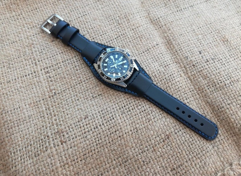 17e08a283 Black genuine leather Cuff watch band 18 mm 20 mm 22 mm 24 mm | Etsy