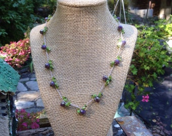 """Crocheted Crystal Glass Bead """"Blueberry"""" Necklace - Gift for Her"""