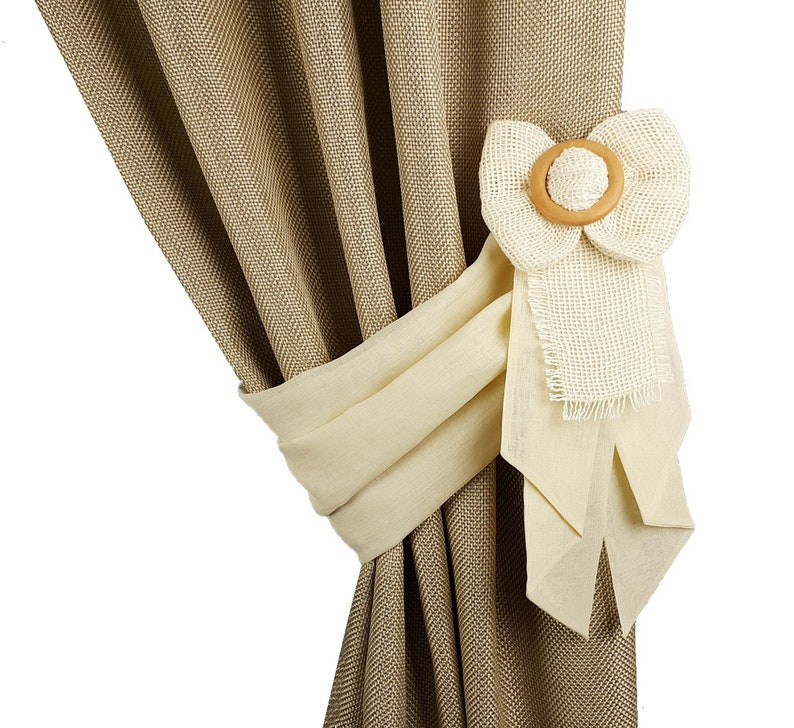 Drapery tie back Shabby chic tiebacks Curtain decor Rustic curtains Curtain tie back cream Burlap bow tiebacks Bedroom curtains decor