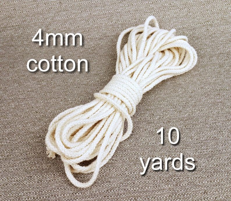 Cotton cord 4mm Rope cotton White Macrame knitted cord Cotton rug cord Crafts supplies Cord crochet Cotton twine Rustic decor 4mm10yards
