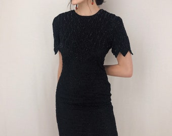 d6979bbf4dd Black Silk Beaded Dress
