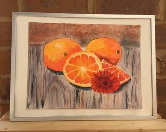 Original watercolor orange still life painting