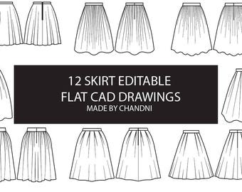 Skirt garment flat technical CAD drawings 10 editable for fashion students and designers