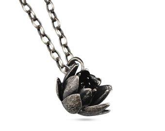 Sterling Silver Sedum Succulent Pendant Necklace