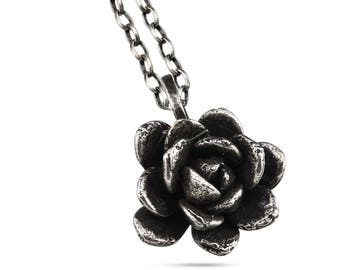 Sterling Silver Round Succulent Sedum Pendant Necklace