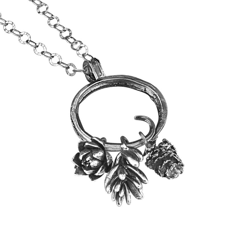 Sterling Silver Hoop Charm Necklace with Succulent and Alder Cone Charms