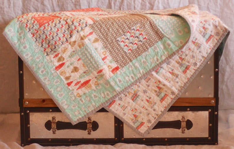southwest coral baby quilt