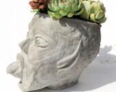 Bad Fairy - XL Head Planter - Handmade Unique Concrete Grey Head Plant Pot - Drainage Hole Option - Succulent Terrarium Garden