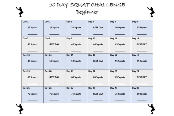 photograph about 30 Day Squat Challenge Printable referred to as 30 Working day Squat Trouble - Rookie