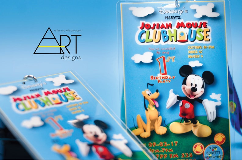Mickey Mouse Clubhouse Birthday Invitations Lanyards VIP Party Pass Laminate Printed Card