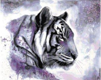 Purple Tiger Cross Stitch Chart