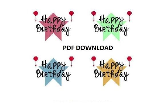 Happy Birthday Greeting Card Pdf Cross Stitch Charts Etsy