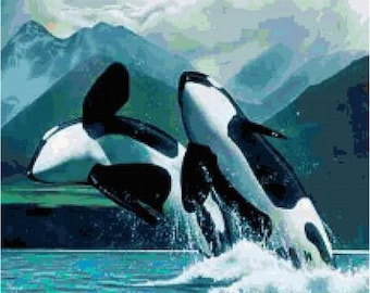 Orca Whales Cross Stitch Chart