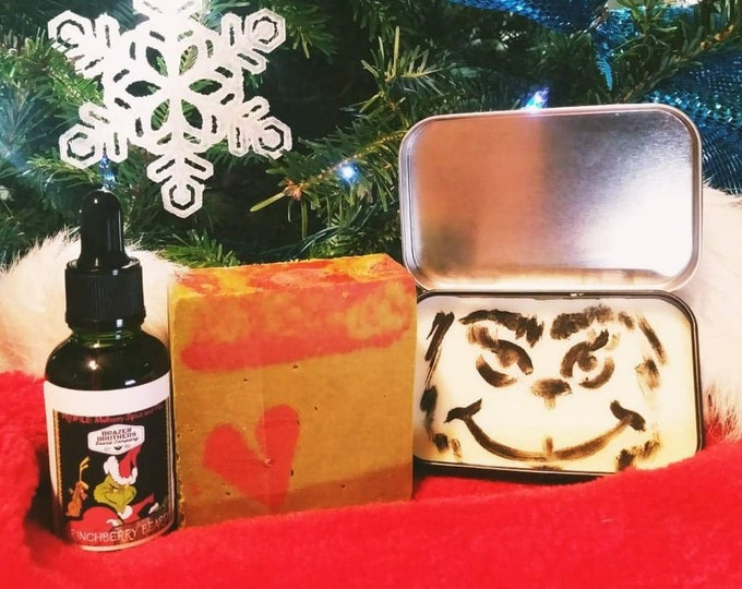 Grinchberry Beard Set: Beard Oil, Balm, and Soap- Mulberry Spice and Pine, Seasonal Scent, Winter Christmas Scent
