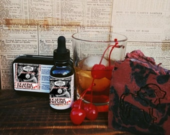 Roaring Twenties Big Cheese Beard Set- Oil/Balm/Soap- Beard On Collaboration, Old Fashioned Cocktail Scent, Cherry, Tobacco, Sandalwood
