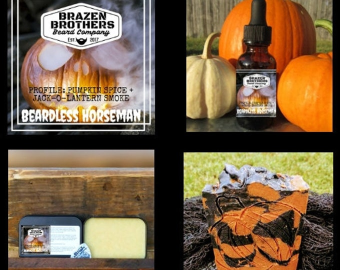 Beardless Horseman Beard Set: Beard Oil, Balm, and Soap- Pumpkin Spice, Scorched Jack-O-Lantern Candle Smoke, Seasonal Scent, Fall Scent