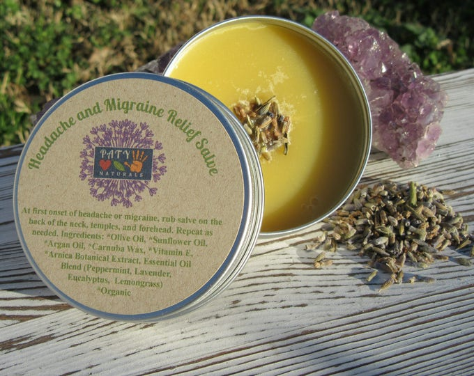 Headache and Migraine Relief Salve- Handcrafted, All Natural, Vegan, Headache and Migraine Relief Salve
