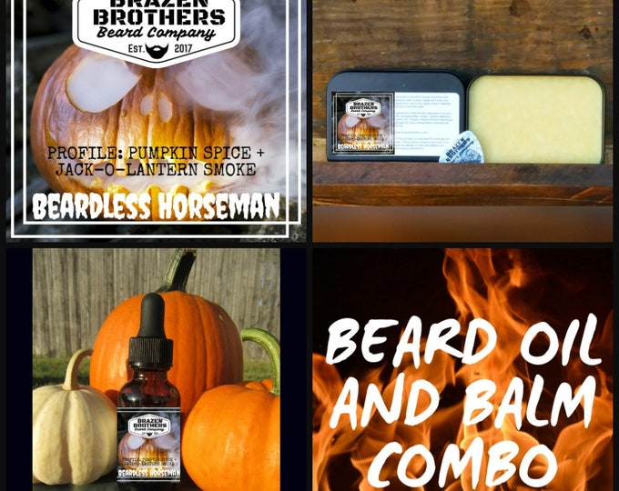 Beardless Horseman Oil/Balm Combo- Pumpkin Spice, Scorched Jack-O-Lantern Candle Smoke, Seasonal Scent, Fall Scent