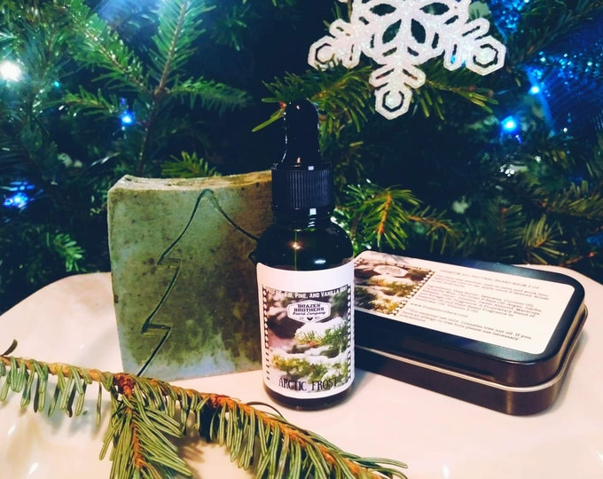 Arctic Frost Beard Set: Beard Oil, Balm, and Soap- Vanilla Mint Fir and Pine, Seasonal Scent, Winter Christmas Scent