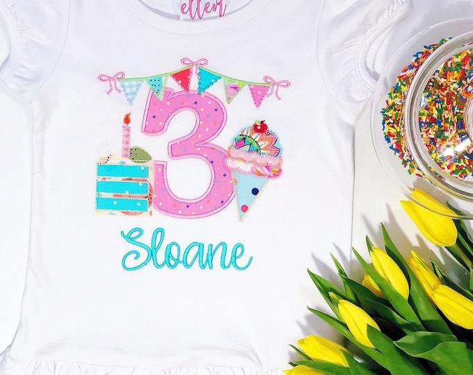Girls Monogrammed Birthday Shirt - Birthday Cake - Ice Cream - Personalized Kids Birthday Shirt - Applique Shirt - Ruffle Tee - 3rd Birthday