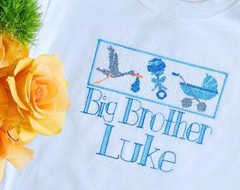 Boys Big Brother Shirt, Monogrammed Shirt, Personalized Sibling Shirt, Vintage Stitch, Monogrammed