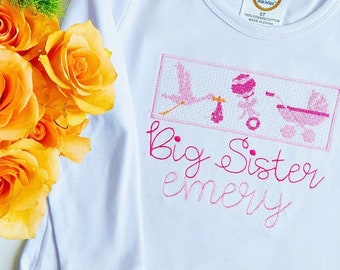 Girls Big Sister Shirt, Monogrammed Shirt, Personalized Sibling Shirt, Vintage Stitch, Monogrammed Big Sis