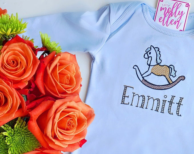 Baby Boy Coming Home Outfit, Monogrammed, Personalized, Newborn Coming Home, Gown, Baby Shower Gift, Monogram Gown, Baby Boy Gown, Custom