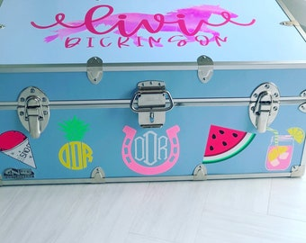 Camp Trunk Vinyl Decal Decor - Camp Trunk Sticker - Personalized Camp Trunk - Camp Trunk Monogram - Camp Trunk Name - Camp Trunk Decals