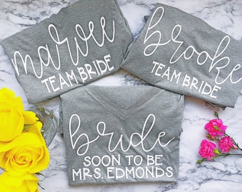 Bridesmaid shirts - Bachelorette Party - Bride shirts  - personalized and custom cute tees!
