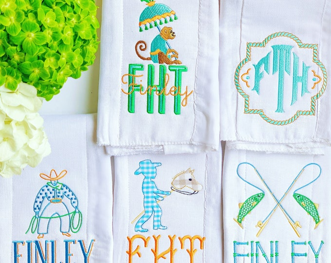 Monogrammed Burp Cloths, Embroidered Burp Cloth, Baby Gift, Baby Accessories, Monogram Baby Burp Cloth, Baby Shower