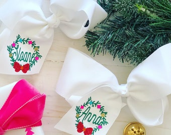 Christmas Monogrammed Hair Bow