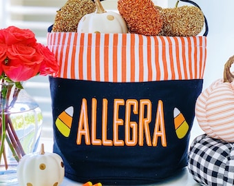 Personalized Halloween Trick or Treat Bucket Bag, Treat Bag, Personalized Halloween Bag, Custom Halloween Bucket, Monogrammed Kids Candy Bag