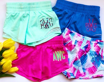 360aa53f9ed02 Monogrammed Running Shorts - Personalized Athletic Shorts - Youth Sizes -  Monogrammed Clothing - Girls Monogram Apparel - Monogrammed Shorts