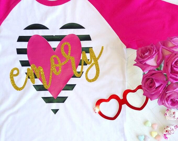 Girls Valentine's Day Shirt, Valentine's Day Shirt for Girls, Monogrammed Valentine's Day Shirt, Personalized Valentine's Shirt