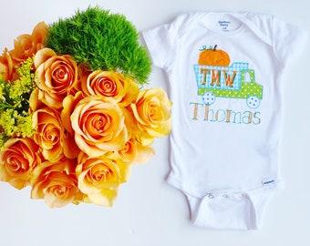 Monogrammed Pumpkin Baby Onesie or Shirt, Pumpkin Truck Onesie or Shirt, Personalized Fall Onesie or Shirt, Farm Embroidered Onesie or Shirt