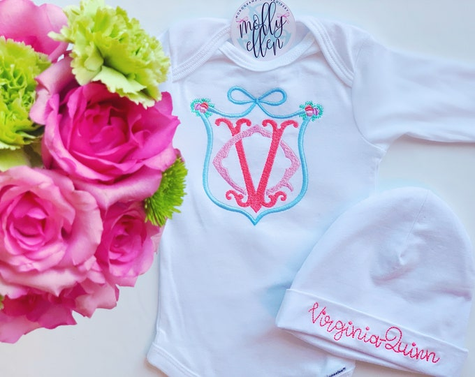 Baby Girl Coming Home Onesie and Hat
