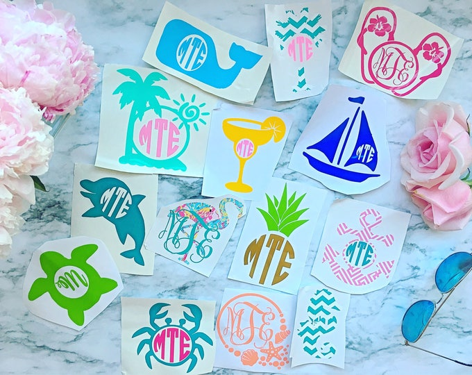 Beach Inspired Yeti Monogrammed Decals
