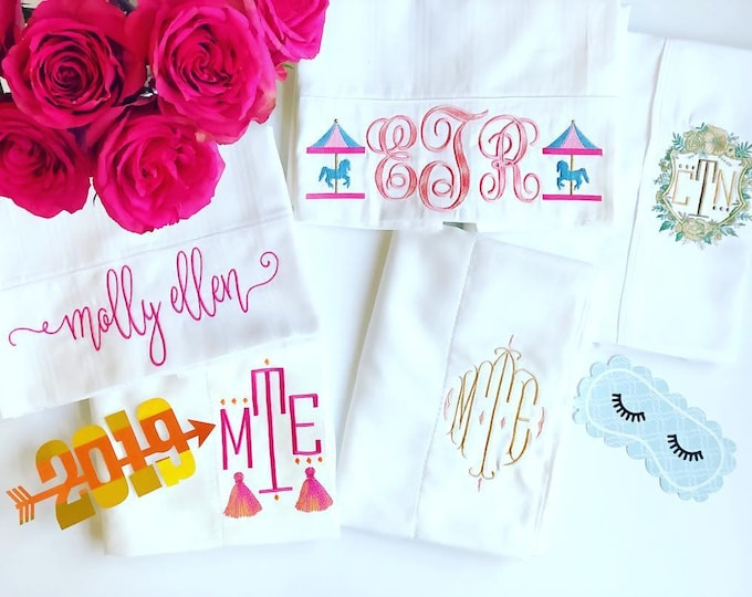 Set of Two Monogrammed Pillowcases