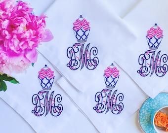 Monogrammed Dinner Napkins, Embroidered Linen Napkins, Personalized Cloth Napkins, Embroidered Napkins, Custom Napkins, Personalized Gift
