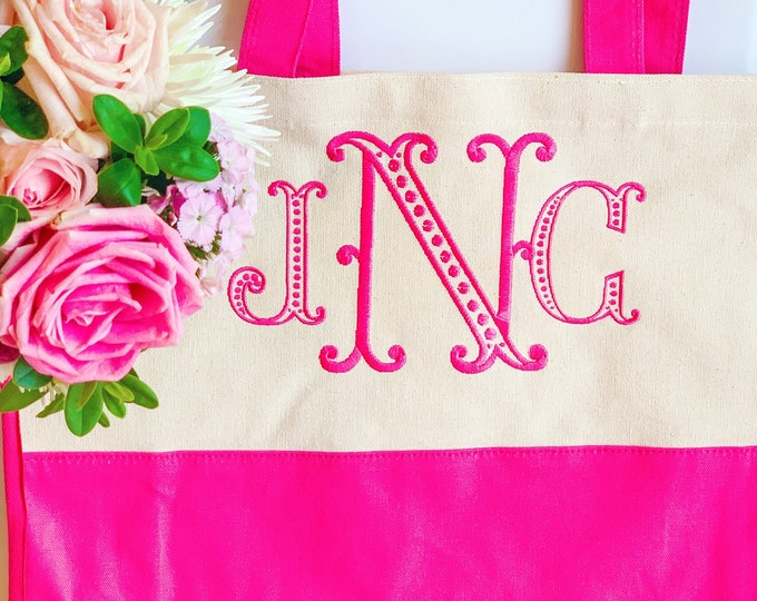 Monogram Tote Bag - Personalized Tote Bag - Large Canvas Monogrammed Tote Bag - Canvas Boat Tote Beach Bag - Monogram Bridesmaid Tote Bag