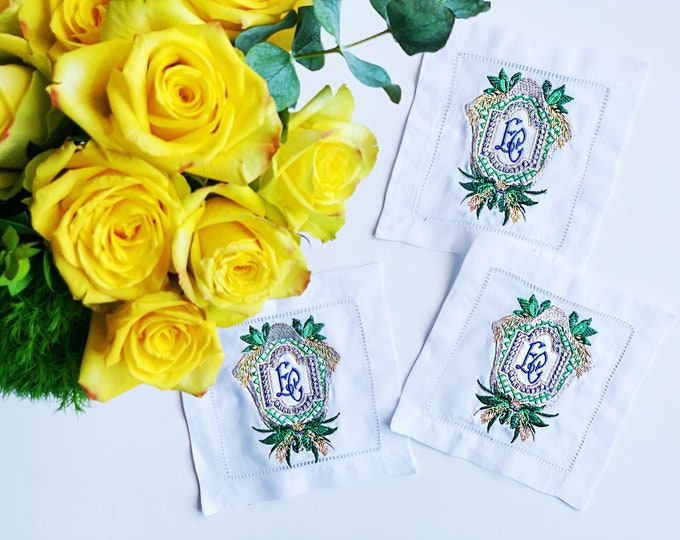 Custom Wedding Crest Linen Cocktail Napkins