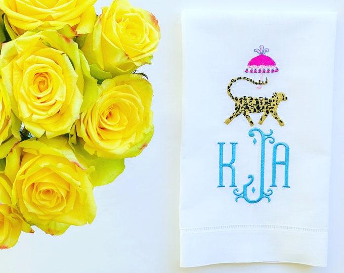 Monogrammed Linen Tea Towel, Personalized Guest Towel, Housewarming Gift