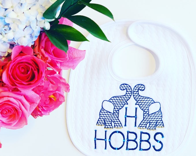 Monogrammed Bib, Personalized Bib, Baby Shower Gift, Baby Gift, Baby Monogram,  Christening bib