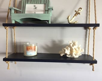 2 Tier Nautical Rope Shelf