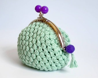 Minetta wallet Original handmade crochet purse woven in cotton and with metal closure