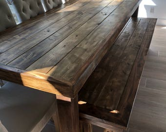 Beau Rustic Dining Table: Farmhouse, Distressed Wood Table, Optional Bench