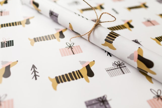 Dachshund Festive Wrapping Paper Christmas Gift Wrap   Etsy